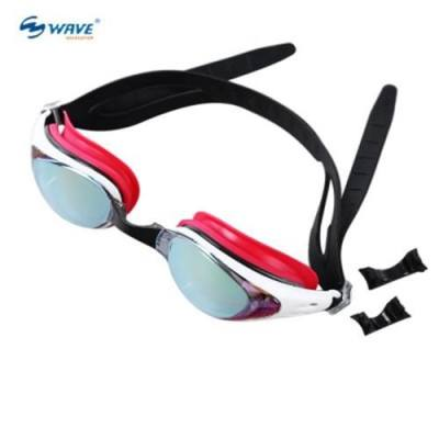 WAVE PROFESSIONAL WATER RESISTANT ANTI-FOG SWIMMING GOGGLES GLASSES EYEGLASSES WITH BOX (RED)