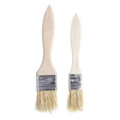 2PCS BARBECUE BRUSH SET GRILL BRISTLE WOOD HANDLE OUTDOOR TABLEWARES (#01)