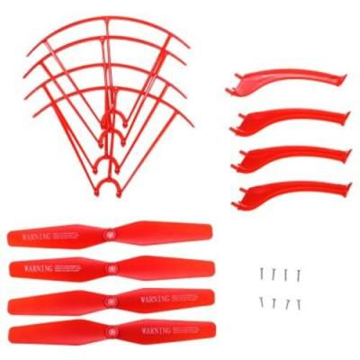 LANDING SKID + PROTECTION FRAME + PROPELLER SET WITH SCREW FOR SYMA X5HW X5HC RC QUADCOPTER MODEL (RED)