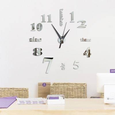 DIY DIGIT ACRYLIC MIRROR WALL CLOCK STICKERS HOME DECOR
