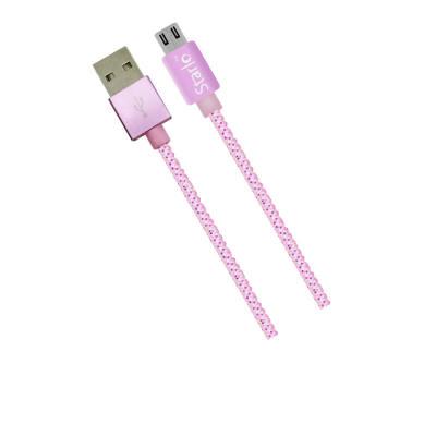 STARLO NYLON MICRO USB LIGHTNING DATA CABLE (PINK)
