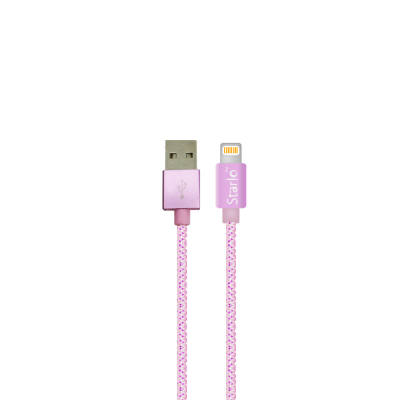 [READY STOCK] STARLO NYLON LIGHTNING DATA CABLE FOR IOS (PINK)