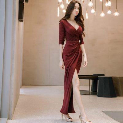 SEXY WOMEN DEEP V DRESS HALF SLEEVE ELEGANT DINNER DRESS