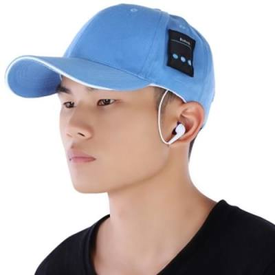 RECHARGEABLE BLUETOOTH MUSIC HAT BASEBALL QUICK-DRYING LEISURE CAP (WATER BLUE)