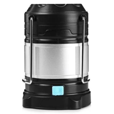 OUTDOOR CAMPING MULTI-FUNCTIONAL PORTABLE EMERGENCY USB RECHARGEABLE BRIGHT LED LIGHT LAMP FLASHLIGHT (SILVER AND BLACK)