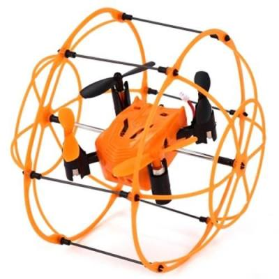 HELIC MAX SKY WALKER 1336 2.4GHZ 4CH RC QUADCOPTER 3D FLIP CLIMBING WALL ROLLER COPTER (ORANGE)