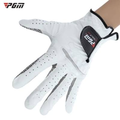 PGM GENUINE LEATHER LEFT HAND SOFT VENTILATED SHEEPSKIN GOLF GLOVE FOR MAN (WHITE)