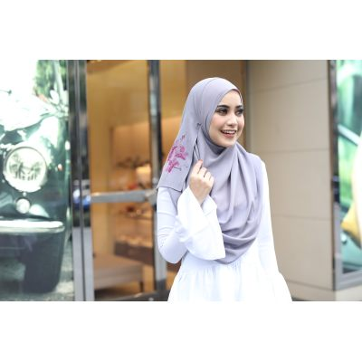 Exclusive Chiffon Tudung Grey Himawari Shawl Instant 2loop Grey