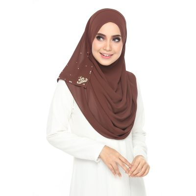 ELEGANT TUDUNG SUMIRE SHAWL INSTANT 2LOOP DARK BROWN