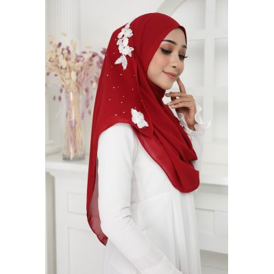 Exclusive tudung muslimah fashion murasaki instant shawl 2loop Burgundy