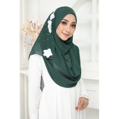 Exclusive tudung muslimah fashion murasaki instant shawl 2loop Olive Green