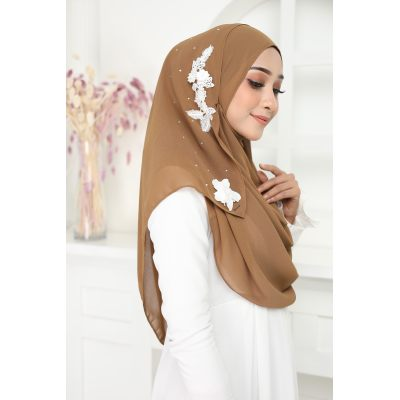 Exclusive tudung muslimah fashion murasaki instant shawl 2loop Dark Khaki