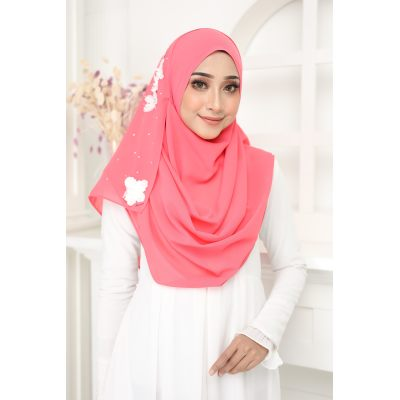 Exclusive tudung muslimah fashion murasaki instant shawl 2loop Punch Pink