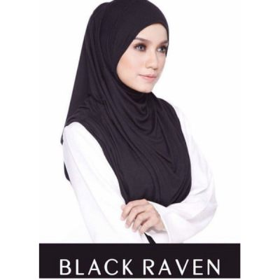 Exclusive Black Raven Teratai Shawl Tudung (Black)