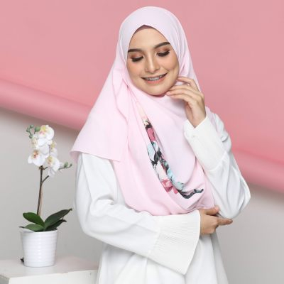 Colourful Flora With corak Shawl Instant 2loop Deep Pink