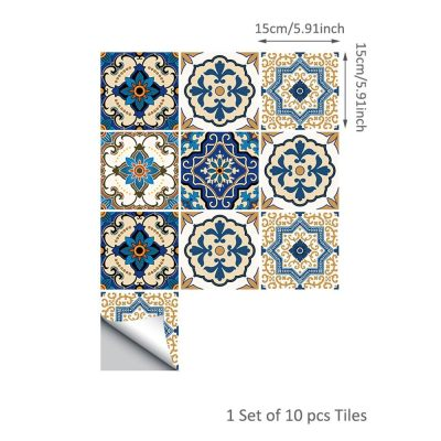 10 Pcs/Set Self Adhesive Tile Stickers (Design 50)