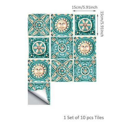 10 Pcs/Set Self Adhesive Tile Stickers (Design 52)