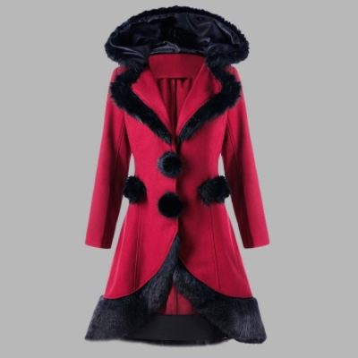FAUX FUR PANEL LACE UP HOODED LONGLINE COAT (RED)
