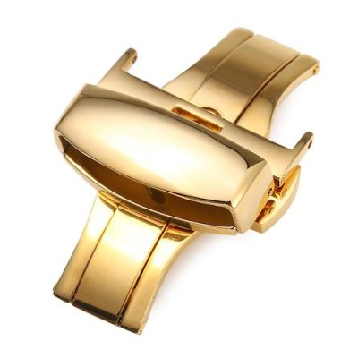 14MM Stainless Steel Buckle Double Push Watch Band Clasp (Golden)