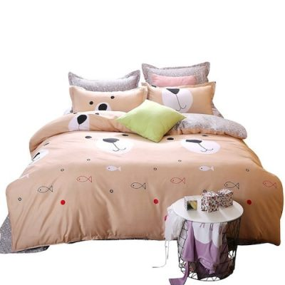 4Pcs/Set Home Fashionable Cartoon Bedding Set