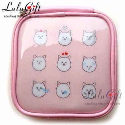 Lulugift Kawaii Cartoon Multi Purpose Make-Up Purse Pink