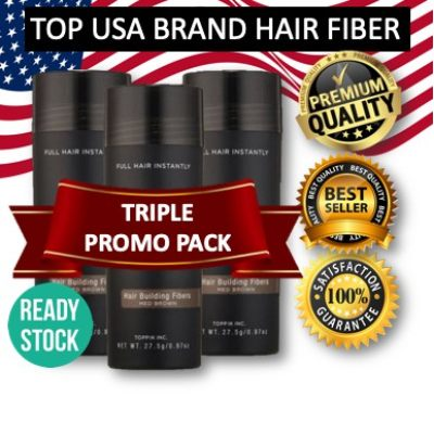 TRIPLE PROMO PACK ( 3 bottles ) Black Hair Fiber for Instant Hair Loss Serat Rambut Concealer Keratin Hair Building Fibers Cover Hair Loss and Thinning Solution