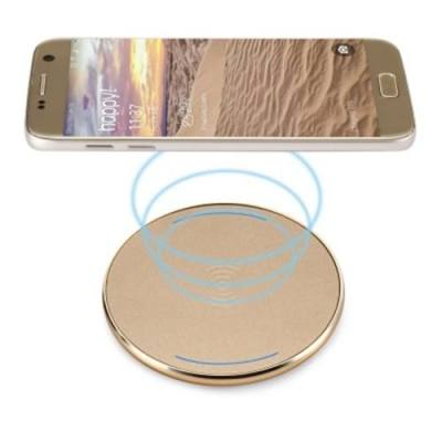 UNIVERSAL PORTABLE QI WIRELESS CHARGER PC FROSTED PANEL ROUND SHAPE (GOLDEN)