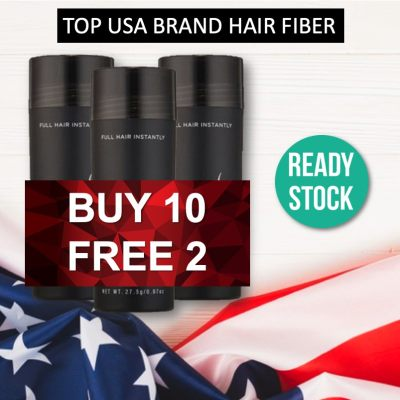 BUY 10 FREE 2 PROMO ( 12 bottles ) Popular US Brand Black Hair Fiber for Instant Hair Loss Serat Rambut Concealer Keratin Hair Building Fibers Cover Hair Loss and Thinning Solution
