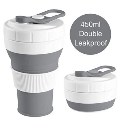 Collapsible Cup 450ml Silicone Portable Foldable Coffee Tea Cup Outdoor Travel Ready Stock