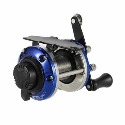 Right Hand Ice Fishing Reel Drum Reel Lightweight Small Compact Design Metal Construction for Saltwater Freshwater (blue)