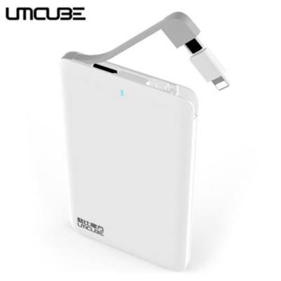 CUBE UMCUBE M46 ULTRA-THIN 4000MAH POWER BANK BUILT-IN MICRO USB CABLE WITH 8 PIN CONNECTOR (WHITE)