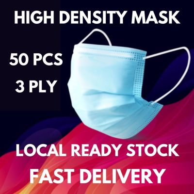 READY STOCK 50 PCS 3 Ply Face Mask Disposable 3 layers High Density Waterproof Thicken Woven Layer Anti Splash Dust proof Anti Germ Bacteria Student Office Use Stock Clearance