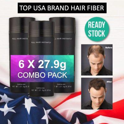 6 IN 1 SUPER SAVER COMBO PACK ( 6 bottles ) Popular US Brand Black Hair Fiber for Instan Hair Loss byorySerat Rambut Concealer Keratin Hair Building Fibers Cover Hair Loss and Thinning Solution