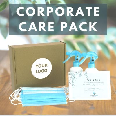 Custom Logo and Message Insert Corporate Care Box Set with 2 bottle 250ml hand sanitizers 50 pcs face masks