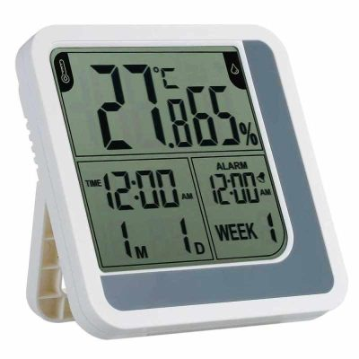[English Version] LCD Digital Indoor Thermometer Hygrometer Room ℃/℉ Temperature Humidity Gauge Meter Alarm Clock Thermo-Hygrometer with Max Min Value Display