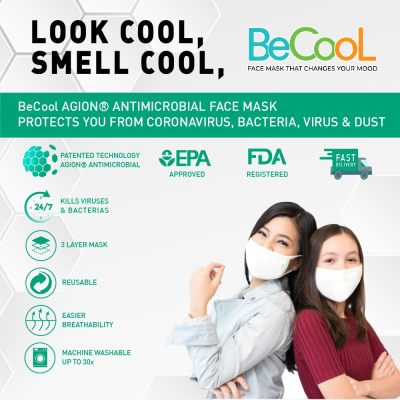 Ready Stock BeCool Agion® Antimicrobial Face Mask with Scent Pouch, Breathable, Washable, Reusable, Patented Technology, Cotton Inner (hypoallergenic) Adult & Teenager Size