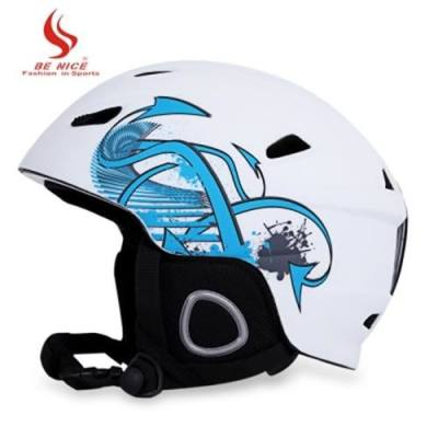 BENICE SKIING HELMET WITH INNER ADJUSTABLE BUCKLE LINER CUSHION LAYER (WHITE)