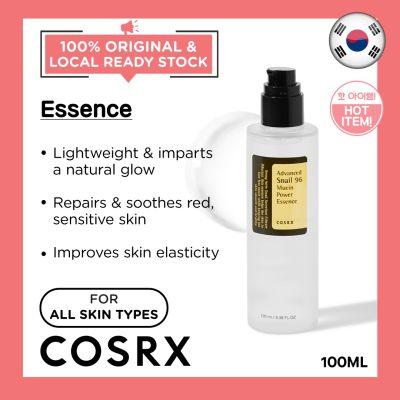 COSRX Advanced Snail 96 Mucin Power Essence 100ml Calming Gentle Serum Ampoule Repair Healing Scar Moisturizing Hydrating Natural Sensitive Skin Korean Skincare Beauty Local Warehouse Ready Stock Original 100ml