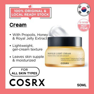 COSRX Full Fit Propolis Light Cream 50ml  Honey Royal Jelly Anti-Inflammatory Antibacterial Healthy Glowing Skin Nourishing Plump Smooth Korean Skincare Beauty Local Warehouse Ready Stock Original 50ml