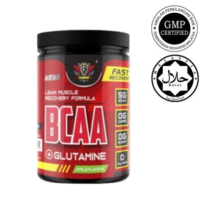 Ready Stock Power Mania Nutrition BCAA 300g Muscle Recovery BCAA Glutamine Halal Certified KKM Approved 30 Scoops Servings (Apple)