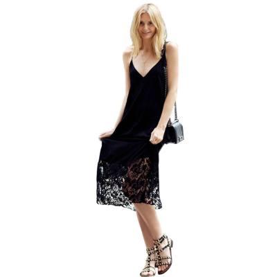 SEXY SPAGHETTI STRAP LACEWORK DESIGN BACKLESS BLACK DRESS FOR WOMEN