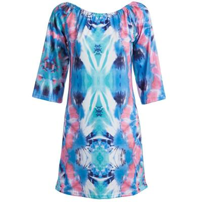 SEXY SLASH COLLAR FLARE SLEEVE GRADIENT COLOR FULL PRINT A-LINE BEACH DRESS FOR WOMEN