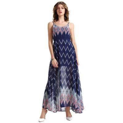 CHIC WOMEN'S HIGH CUT SPAGHETTI STRAP SLEEVELESS BEACH DRESS