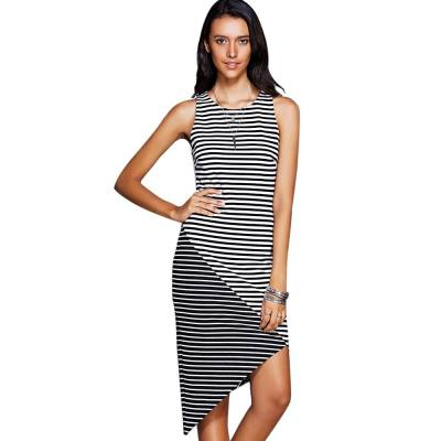 ASYMMETRICAL STRIPED TANK CASUAL DRESS