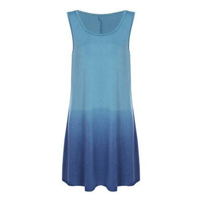 CASUAL ROUND COLLAR SLEEVELESS GRADIENT COLOR WOMEN DRESS