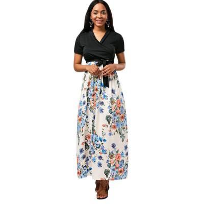 FLORAL BELTED SURPLICE ANKLE LENGTH DRESS