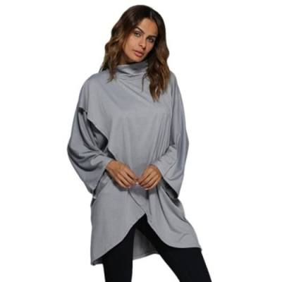 SIMPLE TURTLENECK FLARE SLEEVE PURE COLOR LOOSE BLOUSE FOR WOMEN (GRAY)