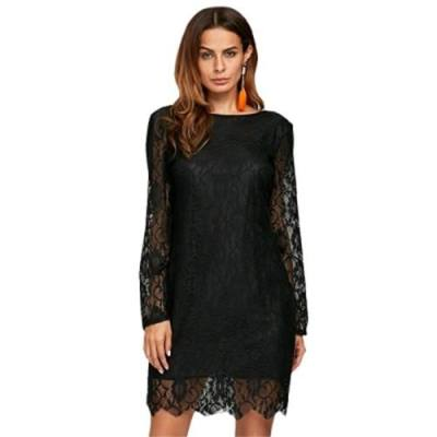 CHIC ROUND COLLAR SEE-THROUGH LACE BLACK DRESS FOR WOMEN (BLACK)