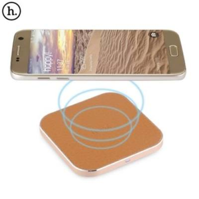 HOCO CW2 PU LEATHER ALUMINUM ALLOY FRAME QI WIRELESS CHARGER FOR QI-ENABLED DEVICES (GOLDEN)
