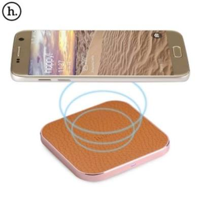 HOCO CW2 PU LEATHER ALUMINUM ALLOY FRAME QI WIRELESS CHARGER FOR QI-ENABLED DEVICES (ROSE GOLD)